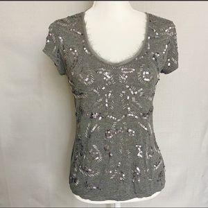 White House Black Market T-shirt Sequins Gray S